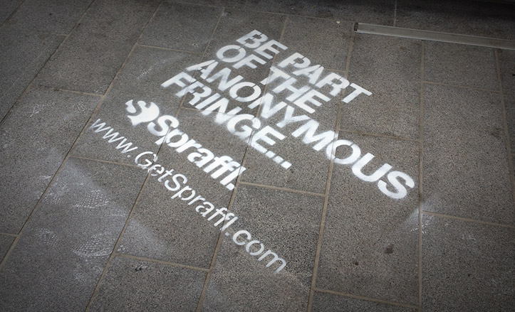 Chalk street graffiti advertising in Edinburgh