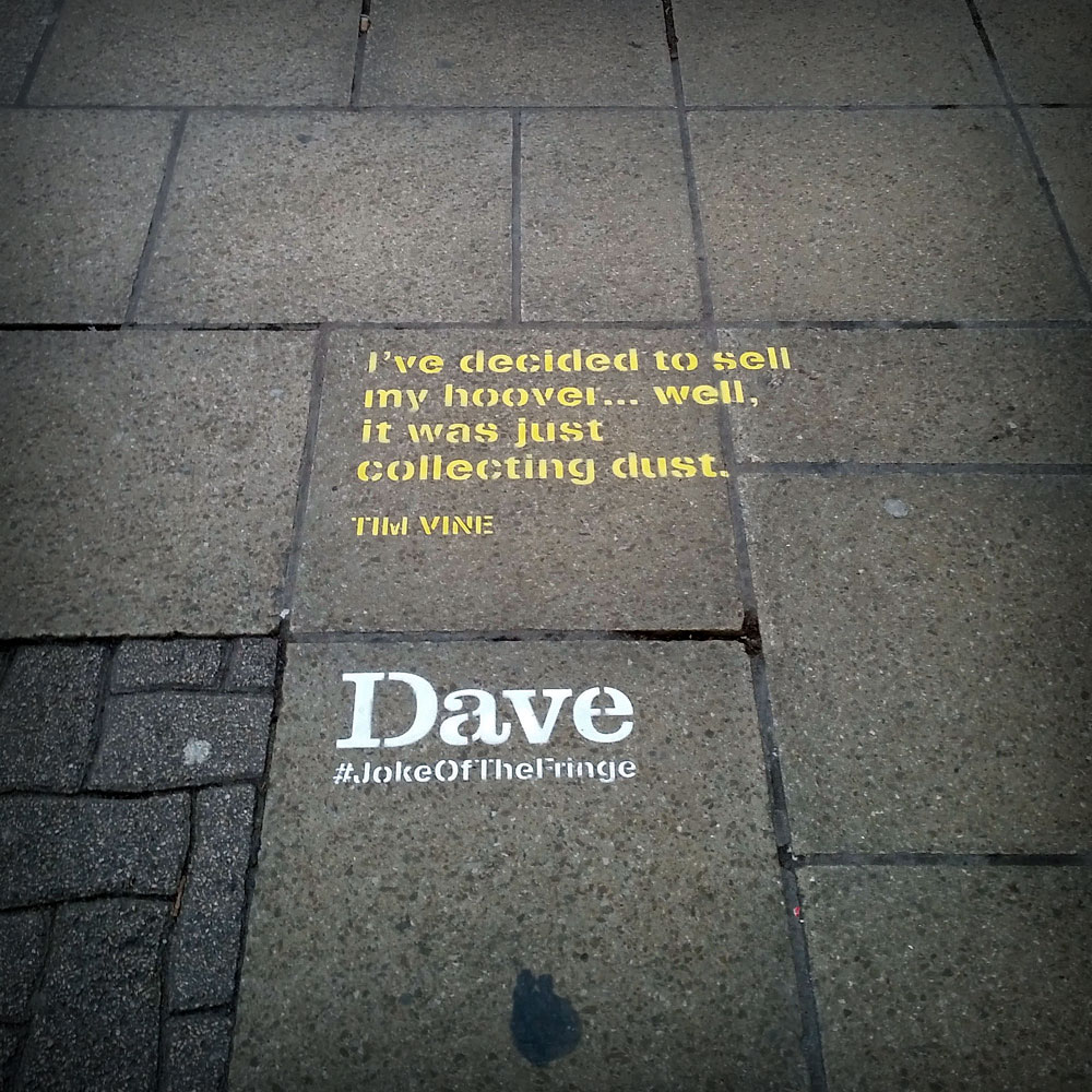 Dave Fringe Street Advertising Comedy On The Streets Green Ape - Street advertising